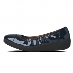 fitflop womens f pop ballerina patent supernavy side view