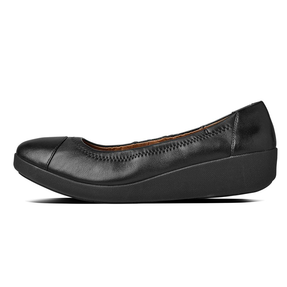 fitflop womens f pop ballerina leather all black