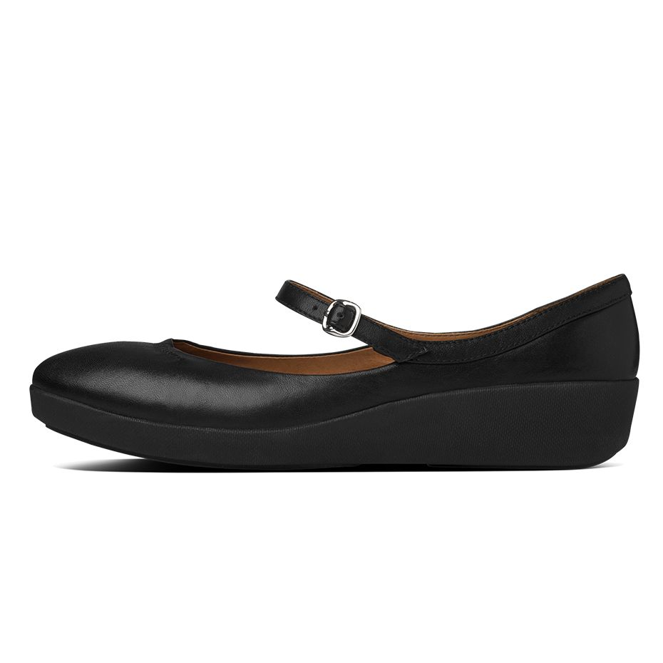 fitflop womens f pop mary jane leather all black