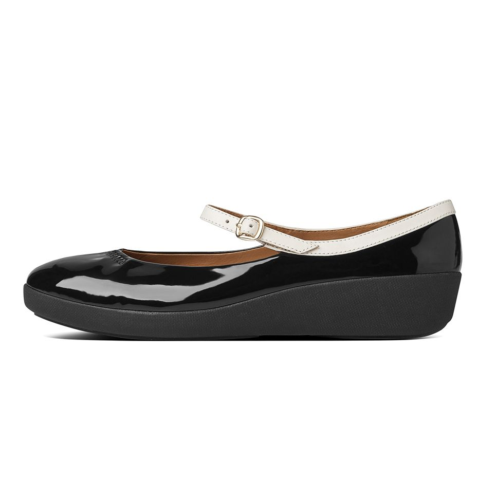 fitflop womens f pop mary jane patent black white