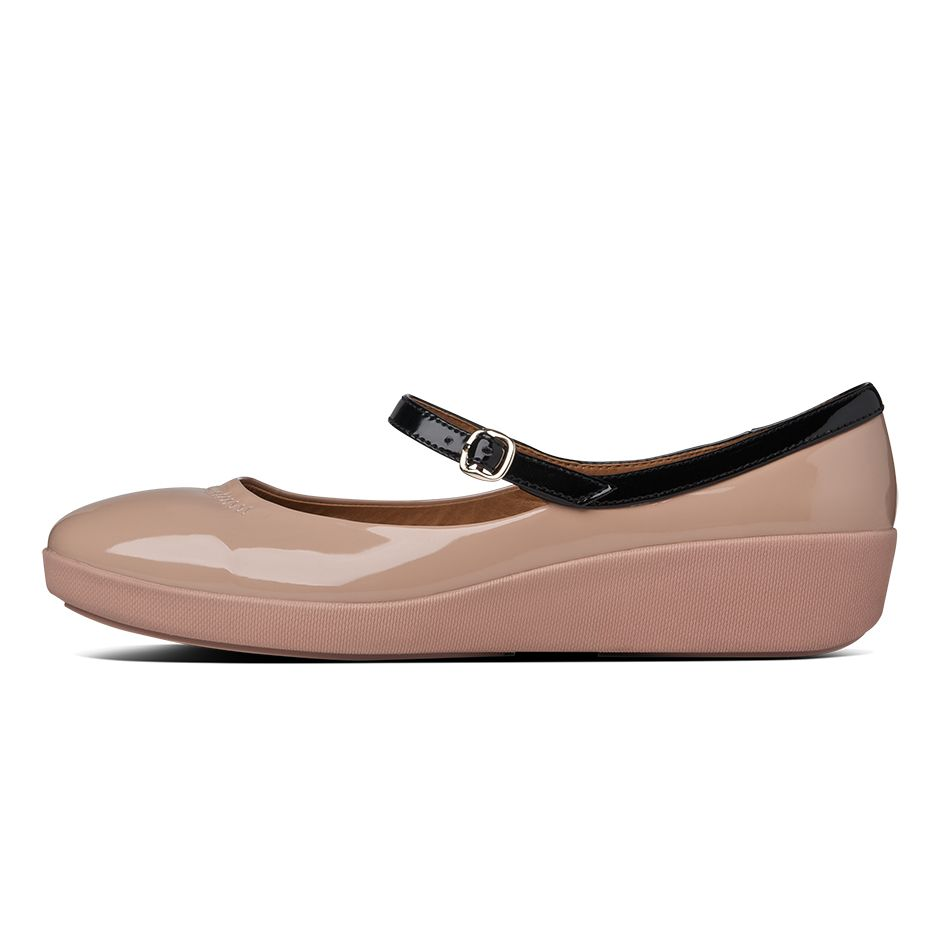 fitflop womens f pop mary jane patent nude