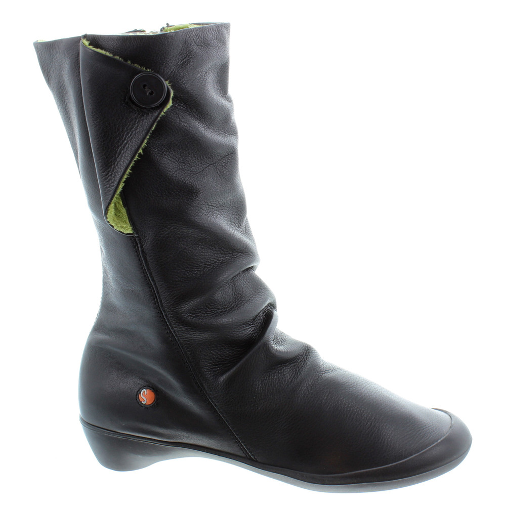 SOFTINOS FLORRIE FLAT CALF BOOT BLACK LEATHER