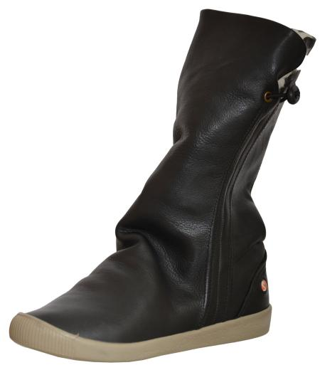 softinos ilka leather slouch mid boot black black